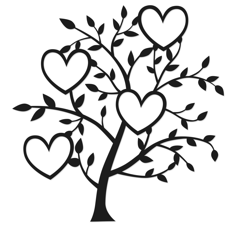 1500x1456 Four Heart Tree Cuts Heart Tree, Silhouette