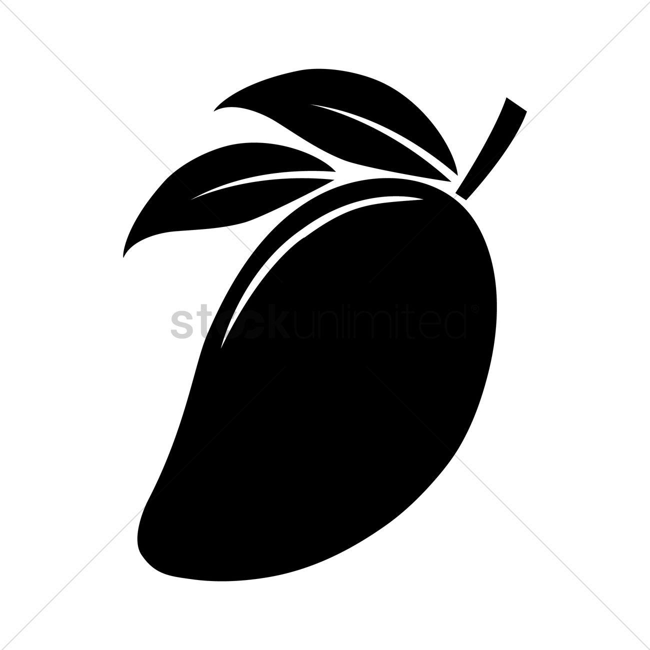 1300x1300 Silhouette Of Mango Vector Image