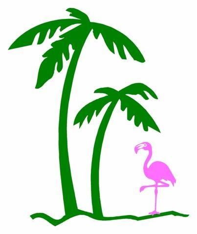 403x480 Flamingo Under A Palm Tree Vinyl Decal Sticker By Sherrysstickers