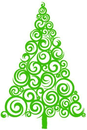 355x532 Swirly Christmas Tree Vinyl Decal Choice By Personalizedbypenny