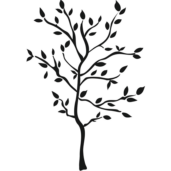 600x600 Tree With Leaves Silhouette Wall Decal Set Tree Wall, Wall