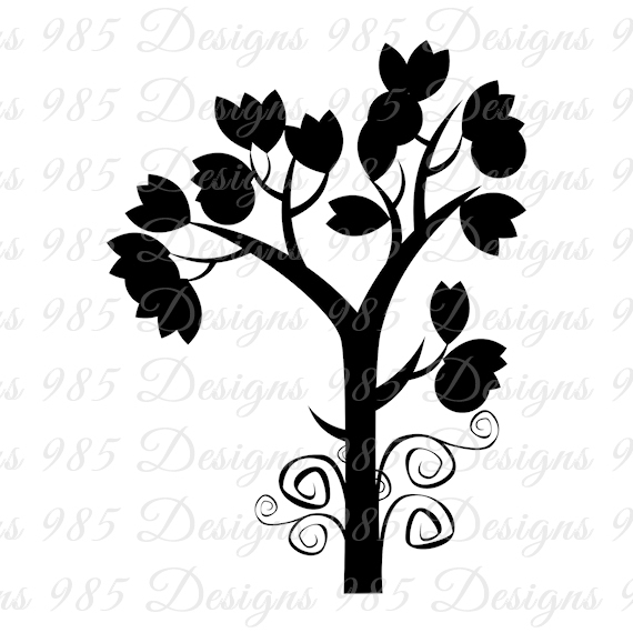 570x570 Tree With Swirls Svg For Cricut And By 985 Graphic Designs On Zibbet