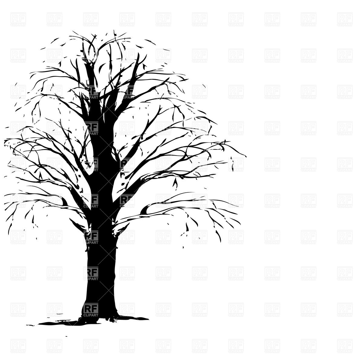 1200x1200 Silhouette Of Dry, Leafless Tree Royalty Free Vector Clip Art