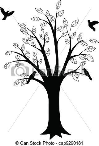 320x470 Tree Silhouette And Bird Vector Clip Art