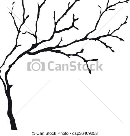 450x470 Black Silhouette Of A Bare Tree. Vector Tree Silhouette Clipart