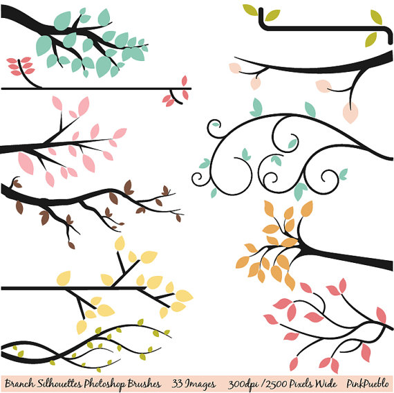 570x568 Branch Silhouettes Photoshop Brushes, Tree Branch Photoshop Brush