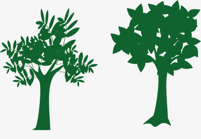 650x450 Simple Green Tree Silhouette Material, Trees, Green, Sketch Png