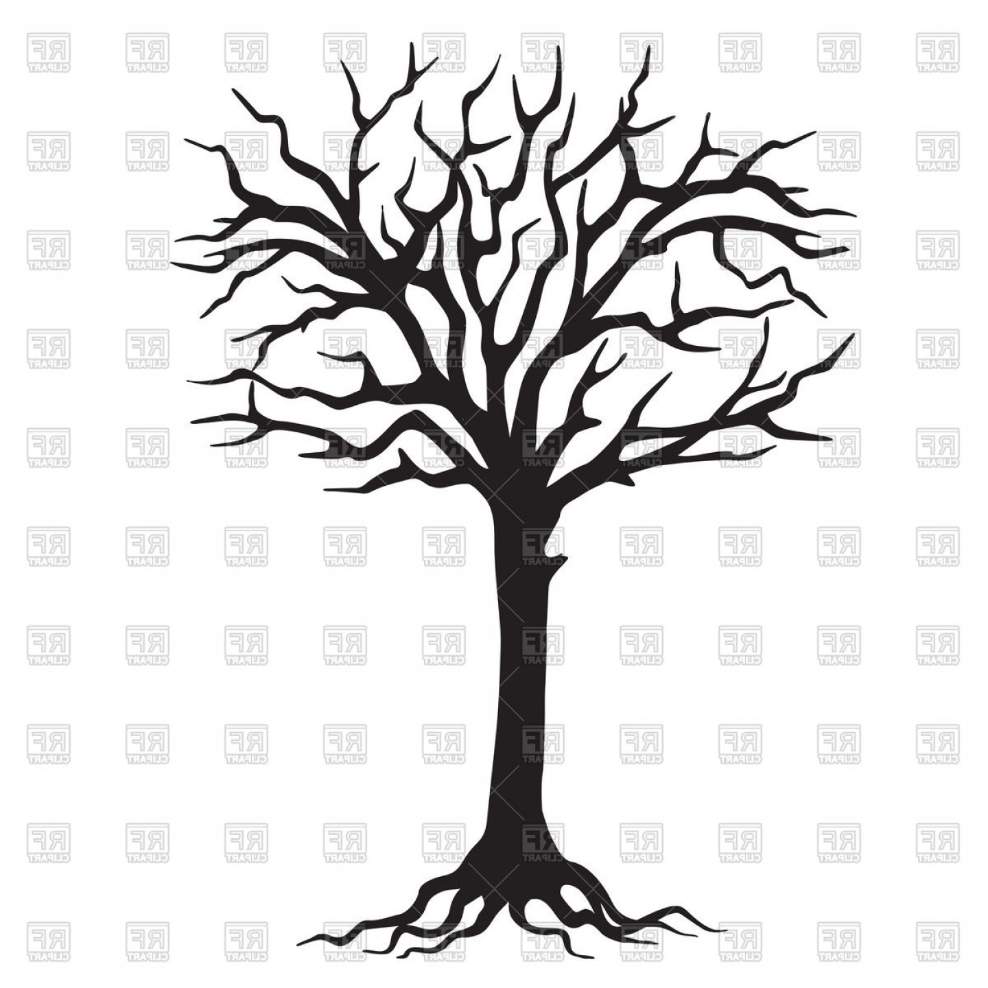1440x1440 Hand Drawn Black Silhouette Tree With Roots Vector Clipart