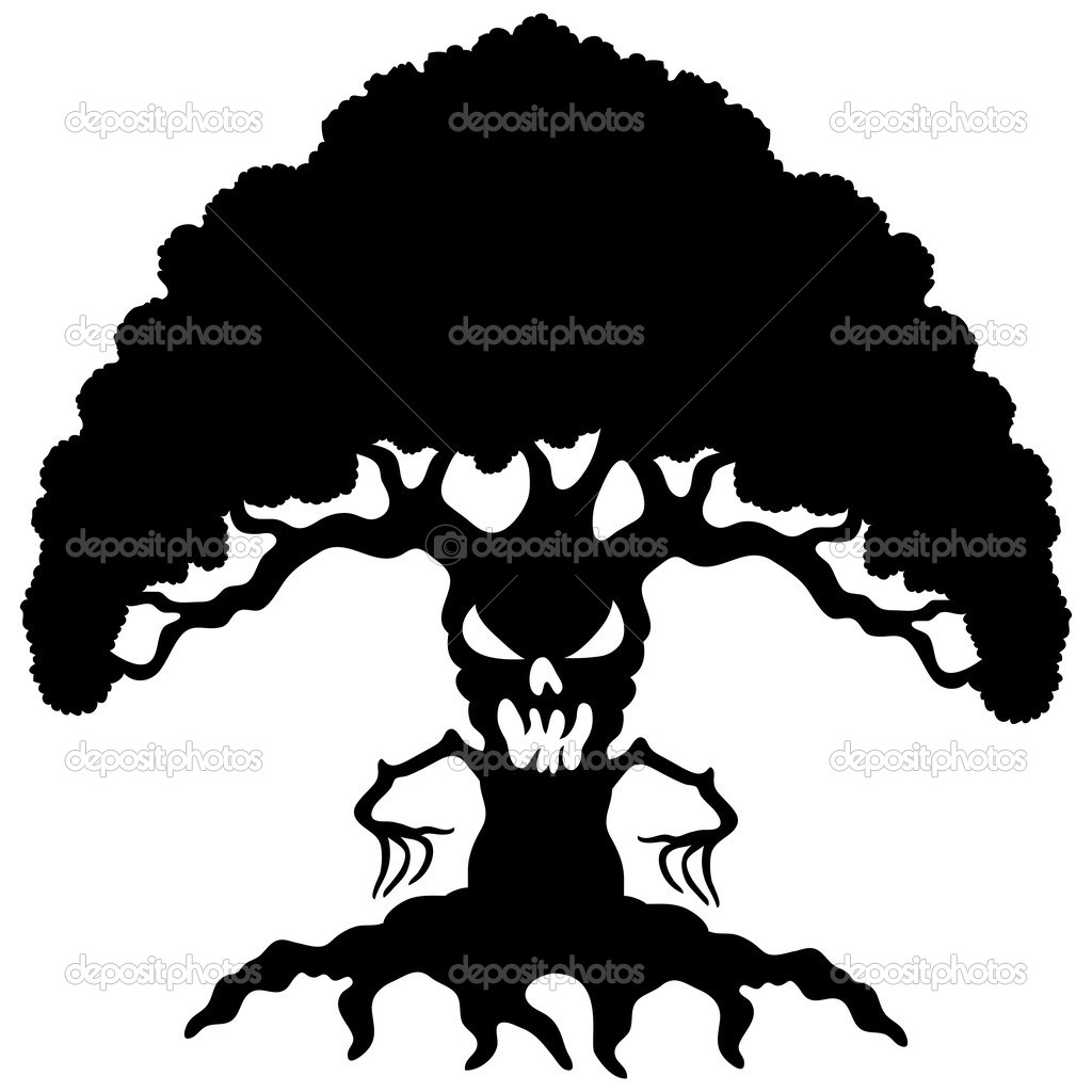1024x1024 Oak Tree Silhouette With Roots