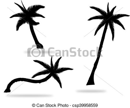 450x376 Set Of Palm Tree Silhouettes Vector Illustration Isolated