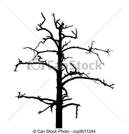 450x470 Tree Silhouette On White Background, Vector Illustration Eps
