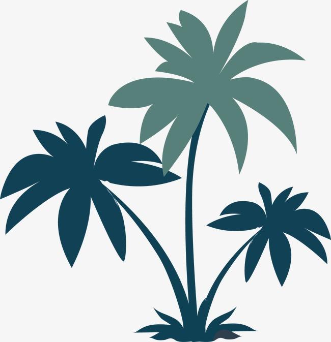 650x673 Coconut Trees Silhouette Vector, Sandy Beach, Plant, Green