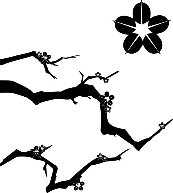 600x667 Plum Blossom Silhouette Vector Pattern Free Vector Free Download