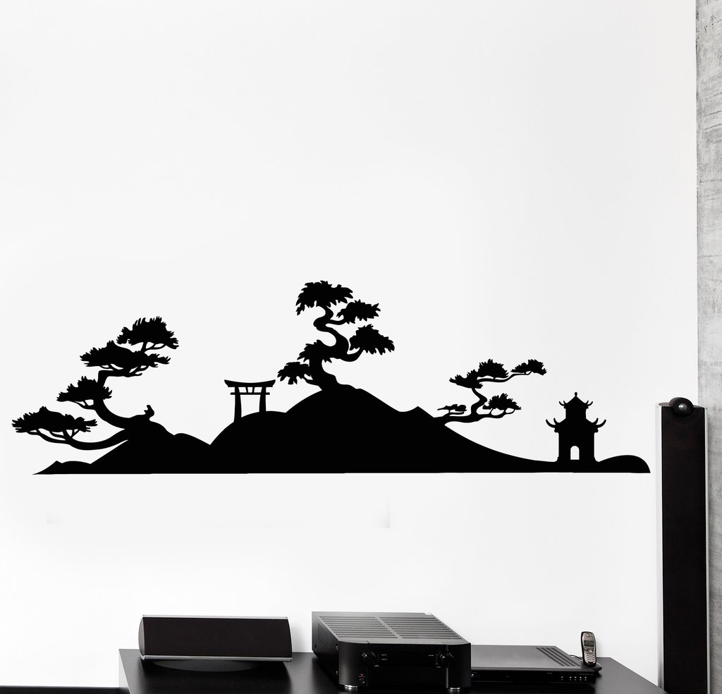 1024x984 Wall Vinyl Decal Japan Japanese Pagoda Japan Japanese Tample