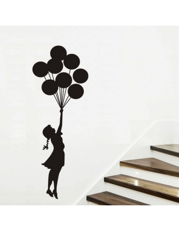 350x450 Girls And The Balloon Wall Sticker For Kids Room Decor Vinyl Wall