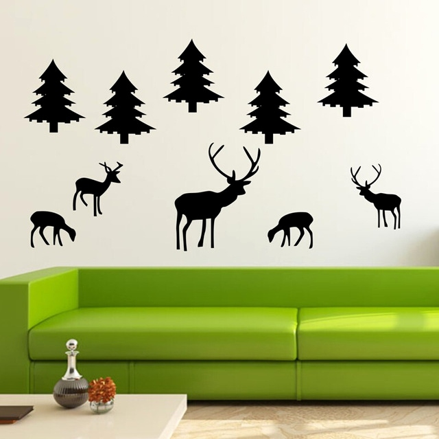 640x639 Large Childrens Wall Decals Elegant Diy Large Tree Deer Animals