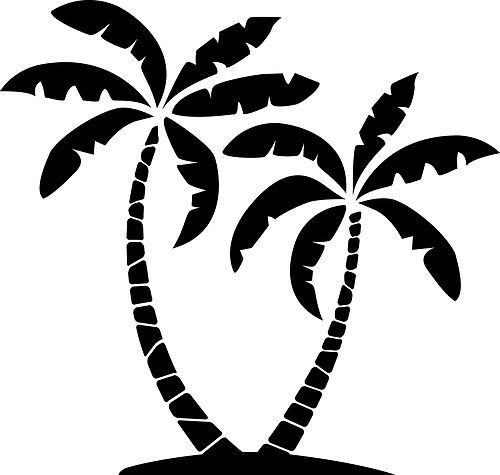500x475 Palm Trees Silhouette Wall Art Sticker Decal Present Gift Desert