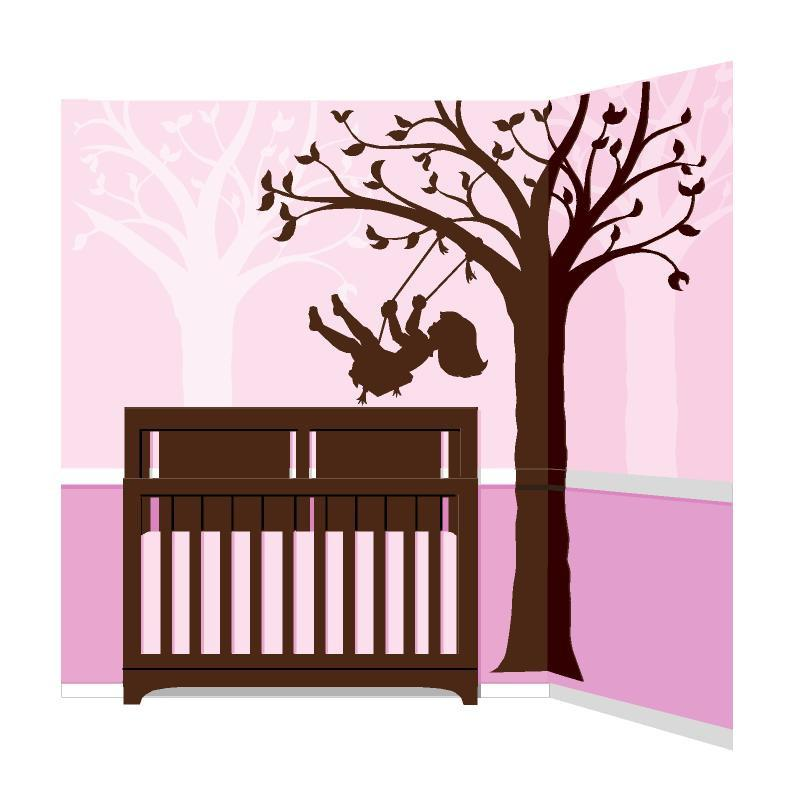 800x803 Silhouette Swing Wall Mural Elephants On The Wall