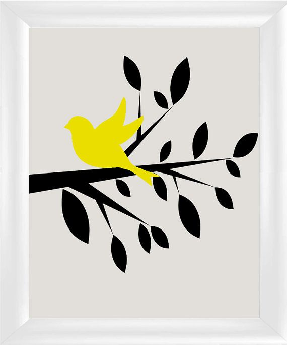 570x684 Tree Silhouette With Bird Modern Contemporary Wall Art