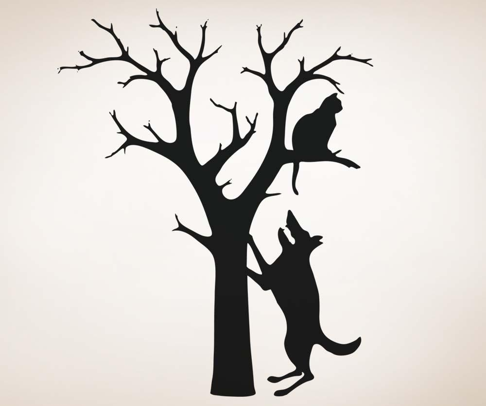1000x836 Vinyl Wall Decal Sticker Dog And Cat In Tree