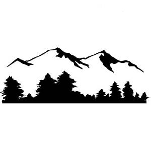 300x300 Mountain And Tree Skyline Vinyl Wall Art Decal Sticker
