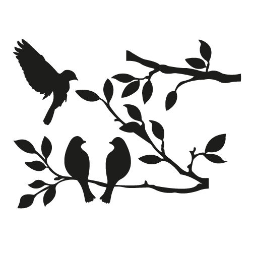 504x504 Birds On Tree Vinyl Wall Sticker Decal Livingroom Children Nursery