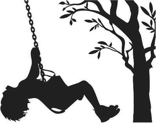 600x472 Children On Swings Wall Sticker Wall Stickers