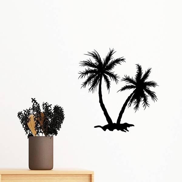 600x600 Beach Coconut Tree Black Silhouette Removable Wall Sticker Mural