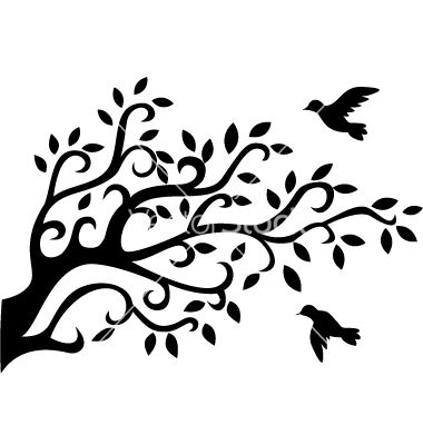 380x400 Logo Tree Silhouette With Bird Vector. To Stencil Paint On A Bunch