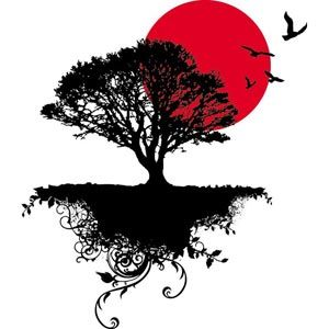 300x300 Tree Silhouette With Birds Painting