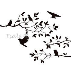236x236 Tree Silhouette With Bird Flying Ella's Big Girl Birdy Room