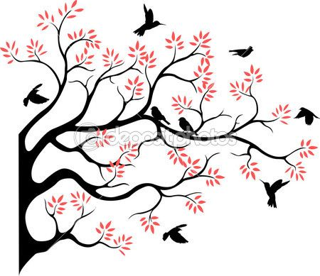 450x389 Tree Silhouette With Bird Flying Cards Tree