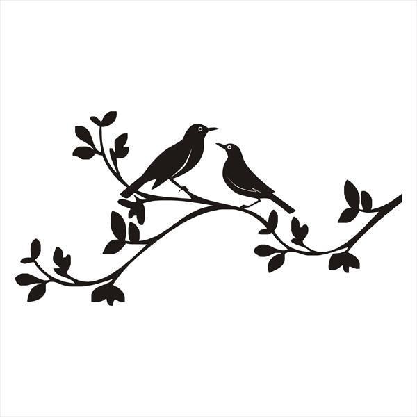600x600 bird on branch silhouette tattoo