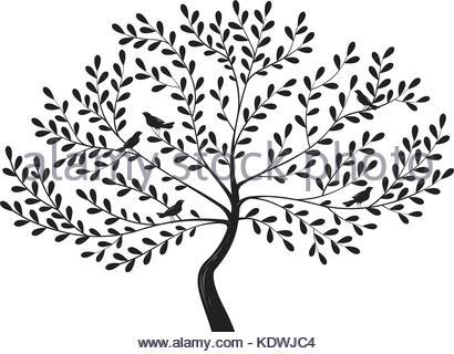 410x320 Black Tree Silhouette. Vector Image Stock Vector Art