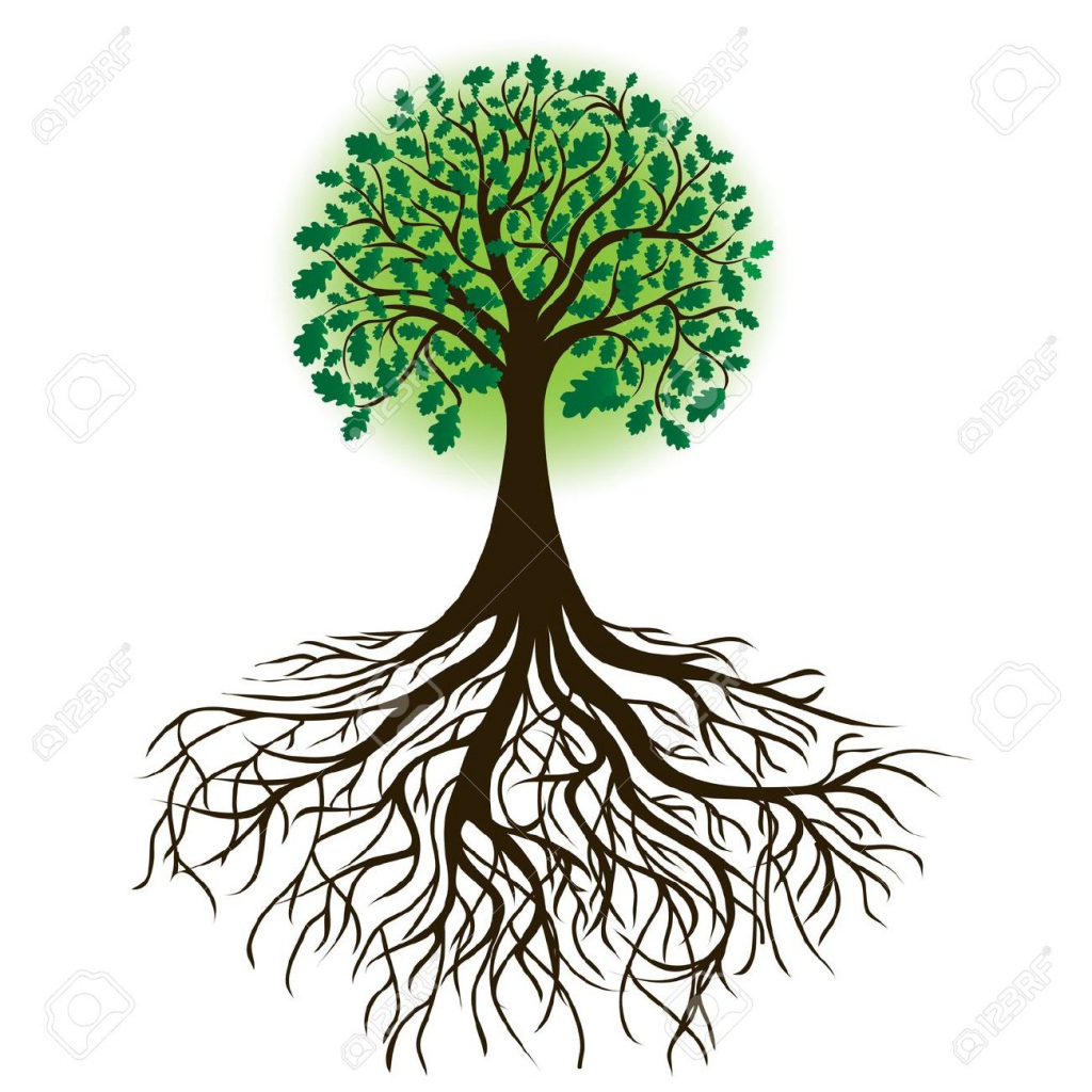 1024x1024 Drawing Of A Tree With Roots Best Tree Silhouette Ideas