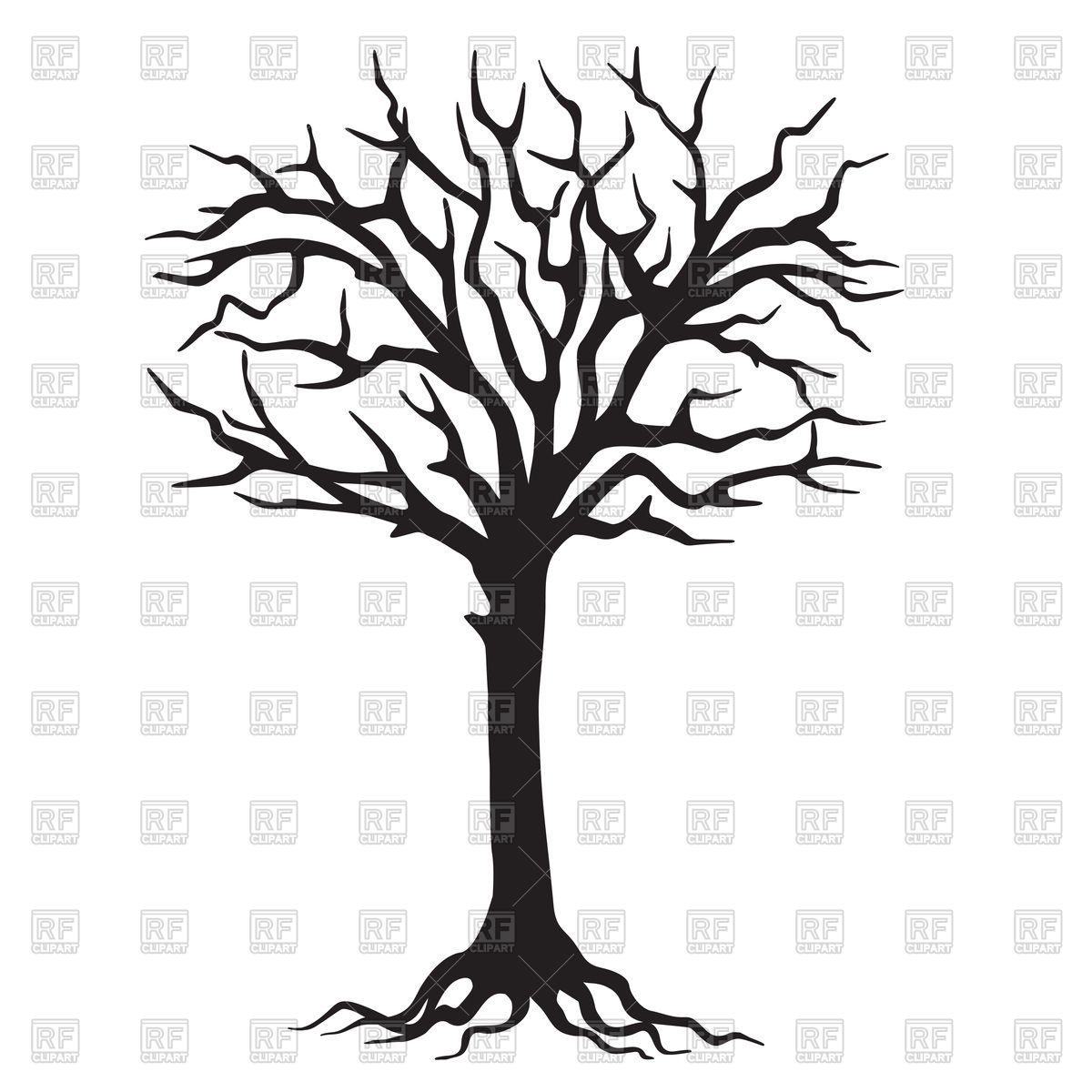 1200x1200 Hand Drawn Black Silhouette Tree With Roots Royalty Free Vector