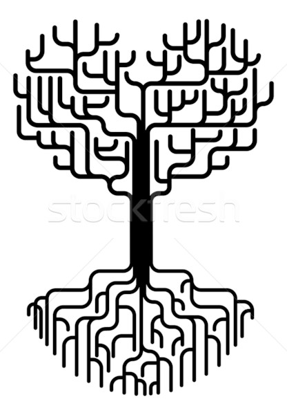 416x600 Abstract Heart Tree Silhouette Vector Illustration Christos