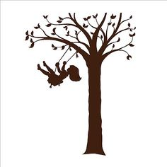 236x236 Silhouette Children Playing Tree Swing Digital Download Or Iron