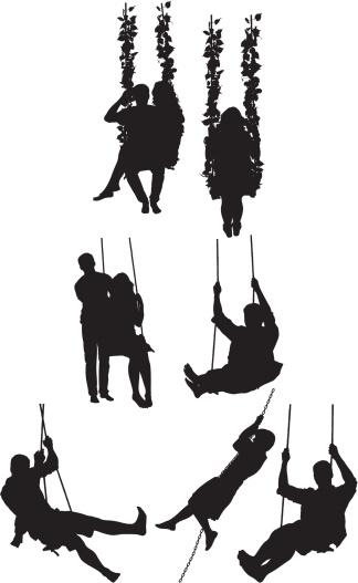 324x527 Vectores Libres De Derechos Silhouette Of People On Swing