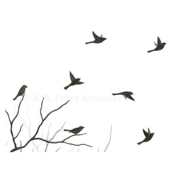 600x600 Original Watercolor Bird Painting, Flying Birds Silhouette, Tree