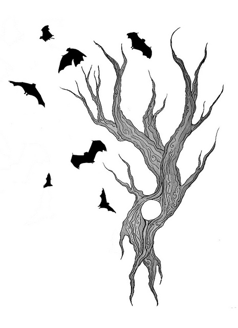 465x640 Tree And Bats Tattoo Design Tattoo Designs, Bats And Doodles