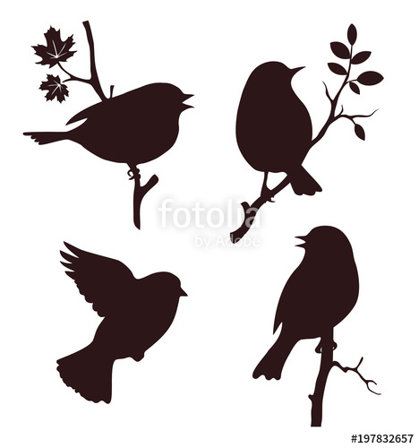 468x500 Decorative Set Of Birds Sitting On Twig Of Tree. Vector Silhouette