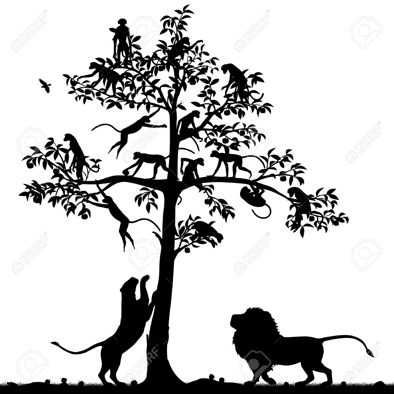 1300x1300 Monkey In A Tree Clipart Silohette