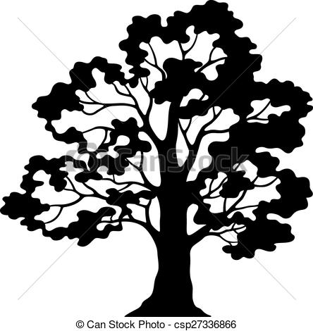 444x470 Oak Tree Pictogram, Black Silhouette And Contours Isolated Clip