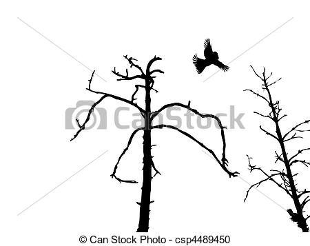 450x357 Vector Silhouette Dry Tree And Birds Isolated On White Vector