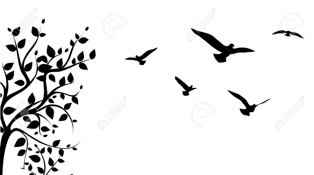 Tree With Birds Silhouette At Getdrawings Com Free For Personal