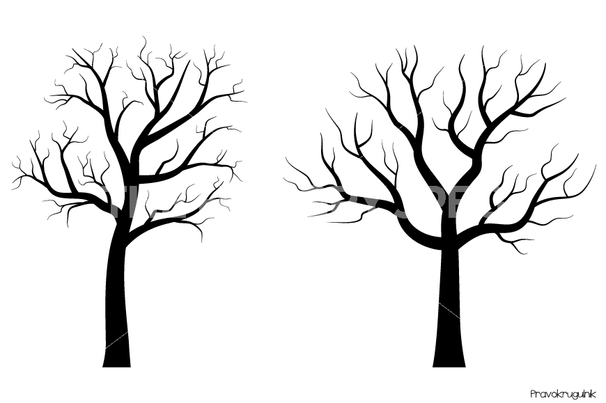 870x579 Black Tree Silhouettes Clipart, Fingerprint Trees Clip Art By