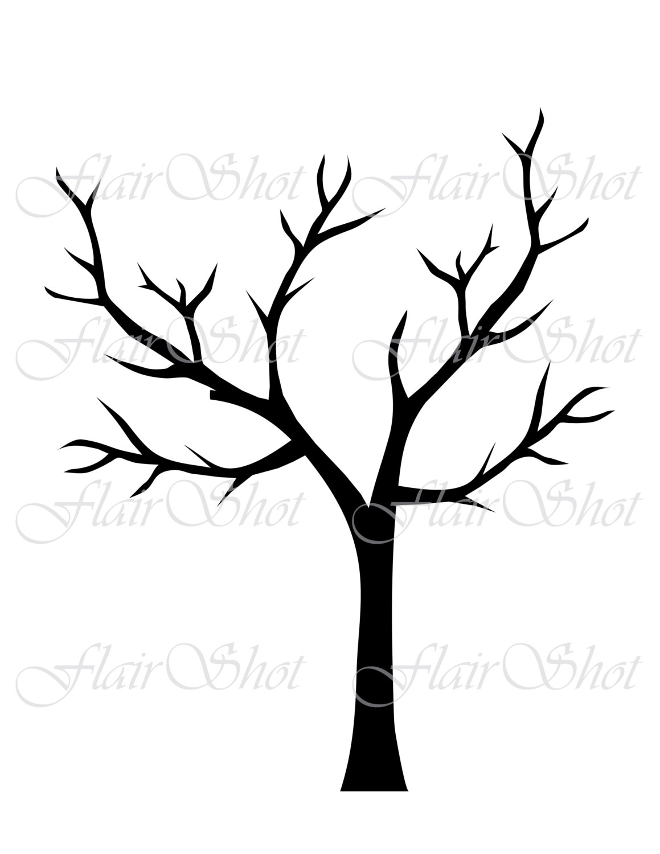 1159x1500 Digital Tree Clip Art, Silhouette Tree Clipart, Black Leaves