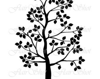 340x270 Digital Tree Clip Art Silhouette Tree Clipart Black Leaves