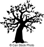 184x194 Tree With Leaves , Black Silhouette On White Background . Vector